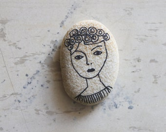 Girl Portrait - Handpainted Decorative Sea Rock - Hand-drawn Woman on Sea Rock - Pebble Art