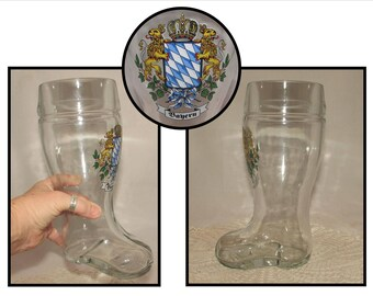 Vintage LARGE Bayern Glass Boot Beer Glass, Beer Stein, Tankard, Mug, Bavarian Crest, Lions, barware