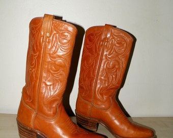 Vintage Brown Leather Western / Cowboy Boots Size 40