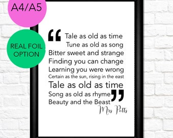 2 | Disney Quote Print | Beauty & The Beast, Tale as Old as Time | A4/A5/Real Foil