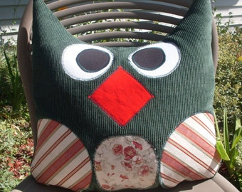 """Handmade Whimsical Owl Pillow Large 13"""" x  15""""  Green   One of a Kind  Ready to Ship"""