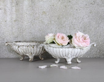 SET Of 2 French Antique Cast Metal Jardinière, Parisian Cast Metal Fluted Planters, Shabby Chic Jeanne D'arc Decor