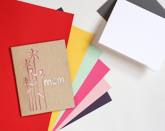 Mother's Day Card: Tall Flowers Laser Cut Card-- custom color + message