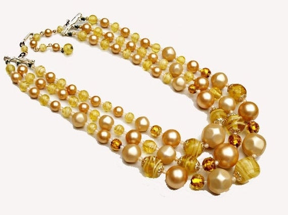 Triple Strand Bead necklace   Yellow cream  Glass Beads   Signed Japan Vintage