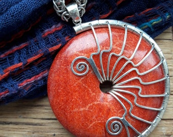 Red coral silver pendant necklace set in sterling 925 silver on substantial heavy unusual silver chain bohemian style one of a kind