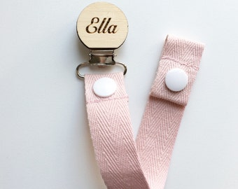 Baby child care etsy au baby pink dummy clip pacifier clip baby shower wooden dummy clip negle Choice Image