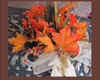 Fall Wedding + Bridal Bouquet + Fall Leaves + Fall Bouquet and Boutonniere - Set + One of a Kind