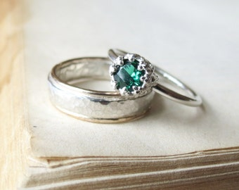 Lab Emerald Engagement Ring / Vintage Style Engagement Ring/ Promise Ring for her in Sterling Silver Let them Eat Cake Ring Art Deco Ring