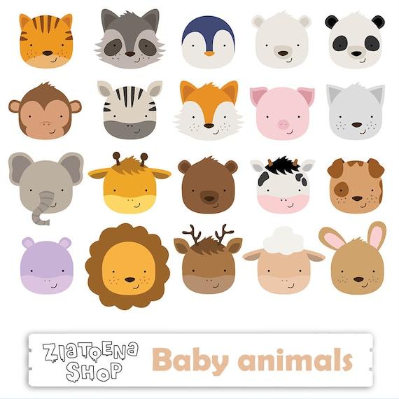 Cute Animal Faces Clipart Jungle Animals faces clipart