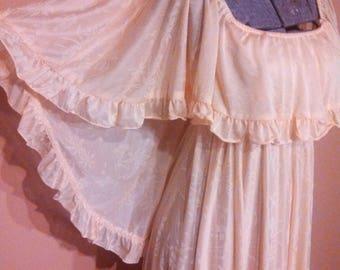 1970s Maxi Dress / Peach Maxi Dress / Cape Sleeve dress / Disco Goddess Dress / 1970s Party dress / On or Off Shoulder Dress