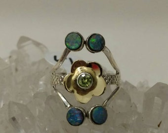Two-tone Opal and Peridot Party Ring, Size 6 1/2