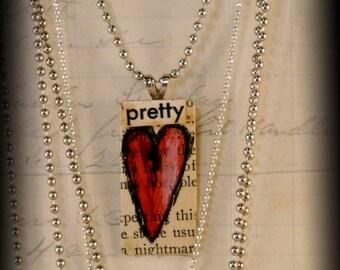 Sweet red HEART pendant necklace PRETTY - ooak artwork art jewelry Original design