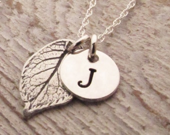 Personalized Necklace - Mini Initial Necklace - Fall Wedding Jewelry - Bridesmaid Necklace - Leaf Necklace