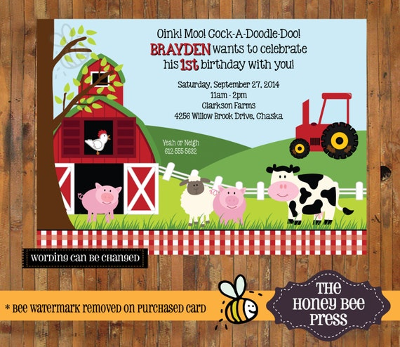 Party Animal 1st Birthday First Birthday Ideas: Farm Animal Birthday Invitation Barnyard Birthday Invite