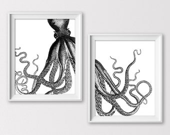 Octopus Print, Octopus Illustration, Nautical Print, Beach Bath Wall Decor, Nautical Nursery, Octopus Art, Vintage Poster, Instant Download