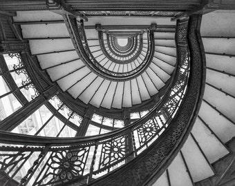 Abstract Photography, Abstract Art Canvas, Chicago, The Rookery, Oriel Staircase, Spiral Staircase, Frank Lloyd Wright, Black and White Art