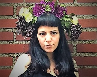 EDIE Floral Head Dress  Artificial Purple and Yellow Flowers Boho Special Event