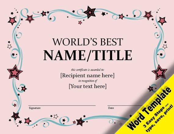 Weltweit beste Auszeichnung editierbare Word-Vorlage