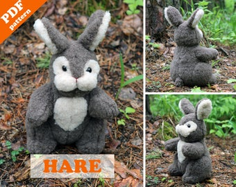 Stuffed animal pattern - Hare (bunny) PDF sewing pattern. Softie DIY toy - pattern & tutorial.
