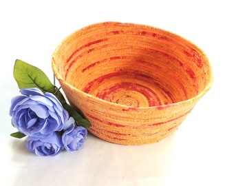 Tangerine and Red Bowl- Extra Large // Handmade Coiled Fabric Basket Rustic Chic Wedding Gift for Mom Hand Dyed Batik Mother's Day