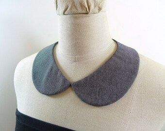 Peter Pan Collar. Grey collar necklace. Detachable Collar,Removable collar