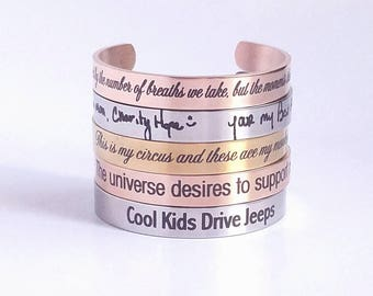 Custom Jewelry - Cuff Bracelet - Custom Engraved - Personalized Cuff - Engraved Cuff - Gold - Silver - Rose Gold - Customized - Handwriting