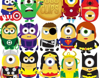 14 Minions Avengers super hero Characters - PNG Instant Download