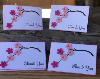 Cherry blossoms, cherry blossoms thank you cards, sakura cards, thank you cards, mini thank you cards, cherry blossom card sets