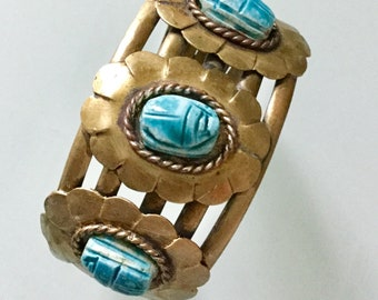 Vintage EGYPTIAN SCARAB CUFF Stunning Metal Gold & Silvery Hand finished Wide Bracelet Dimensional Glass Carved Scarab Adjustable custom fit