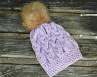 Hand Knitted hat, pink cable knit hat, dusty pink cable knit, knit beanie, merino wool hat,fur pompom, cable knit, winter beanie, winter hat
