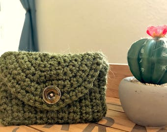 Mini Card Wallet- Coin Purse- Makeup Bag- Crochet Wallet- choose your color