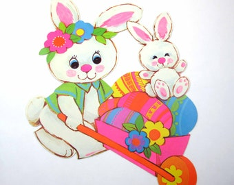Vintage Die Cut Cardboard Easter Decoration with Cute White Rabbits Cart and Colored Easter Eggs