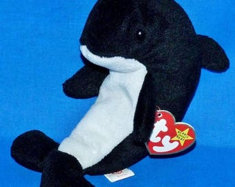 Original Beanie Baby Wave the Orca Whale - Mint - w/ tags and errors