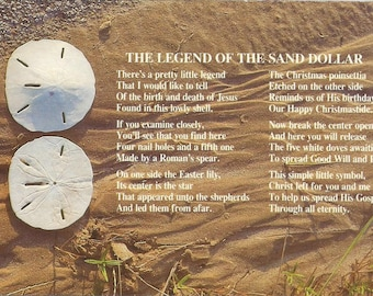 Vintage 1960s Postcard Legend of the Sand Dollar Ocean Animal Folklore Story Scenic Beach Shell Photochrome Card Postally Unused