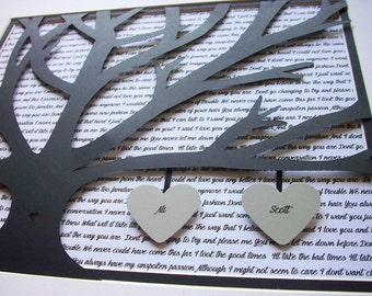 1st Anniversary Personalized Gift, 11X14 Unframed 3D Paper Tree Wedding Gift, Anniversary, Wedding Song Lyrics