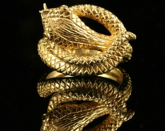 Gold Serpent Snake Ring 18ct/silver