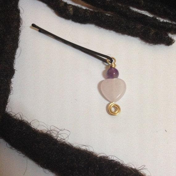 Amethyst Rose Quartz Hair Pin Bead Jewelry Locs, Dreadlocks, Braids and Twists