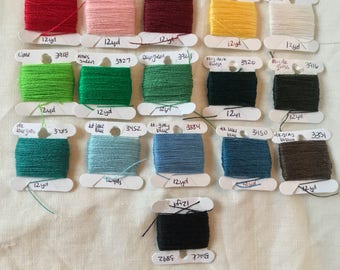 17 Colors Crewel Wool Sample Card