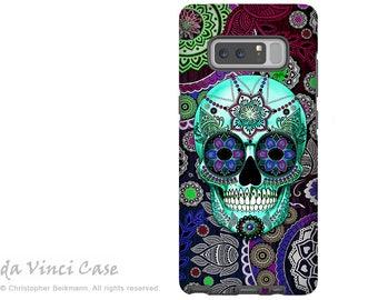 Purple Sugar Skull Galaxy Note 8 Case - Paisley Skull Art Case for Samsung Galaxy Note 8 - Sugar Skull Sombrero - Premium Dual Layer Case