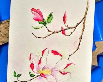 Watercolor card 10*13 cm, handmade watercolor greeting card