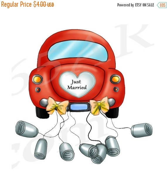 50 off just married car clipart clip art wedding car rh etsy com just married clipart married clipart