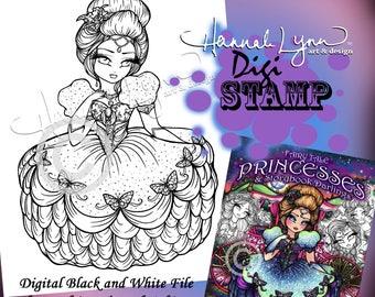 PRINTABLE Digi Stamp Cinderella Princess Off to the Ball Coloring Page Fun Fantasy Art Hannah Lynn