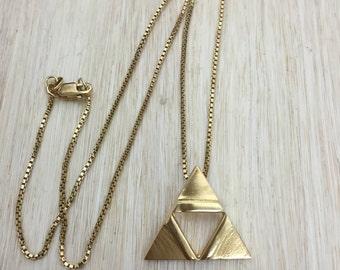 TriForce Necklace Pendant, Cosplay TriForce LoZ Necklace, Sterling Silver Hyrule Triangle Necklace, 24K Gold Plate Overlay, Legend of Zelda