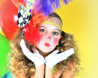 Over the Top Clown Headpiece and Gold Headband...Circus Clown Fascinator, Rainbow Clown Headpiece, Couture Clown Costume...UNDER The BIG TOP