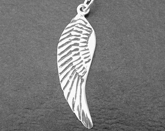 Sterling Silver Angel Wing Charm, Angel Charm, Wing Charm, Sterling Silver Pendant charm, Sterling Silver Jewellery Supplies.
