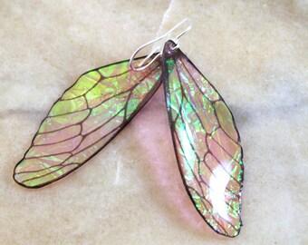 Dusty Pink Fairy Wing Resin Earrings