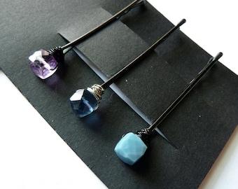 Cube Edelstein Trio Bobby Pin Pack - blau und Lila - Lavendel Amethyst, blauer Flourit, Opal blau