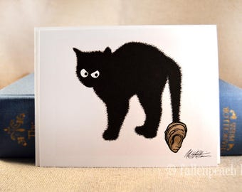Black Cat with Oyster on Tail - Sammy Blank Greeting Card