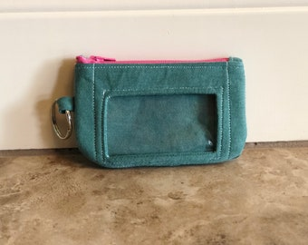 ID Wallet, Keychain, Coin Purse - Teal T-Shirt with UGH letters, word