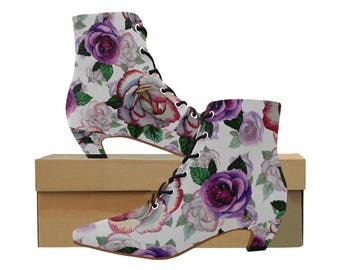 Victorian Rose Print Granny Booties Langenlook Mori Girl Steampunk Style Ankle Boots Free Shipping